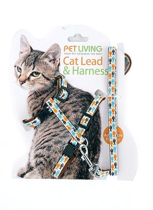 Pet Living - Arnés para gato totalmente ajustable y correa y collar con dibujo de peces