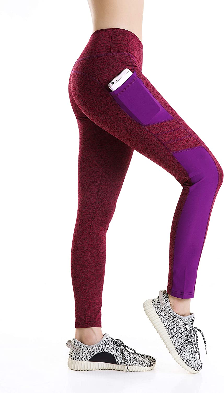 Womens Yoga Pants Purple Leaf Elastic Workout Running Leggings Pants