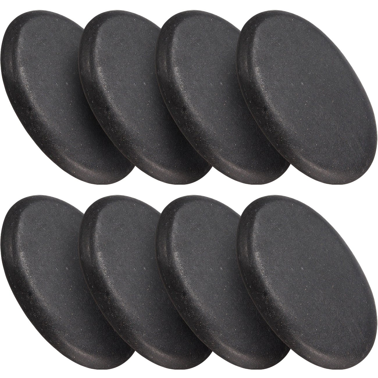Sivan Health and Fitness 8-Piece Large Black Basalt Hot Stone Set — Great for Spas, Massage Therapy, Relaxation, and more