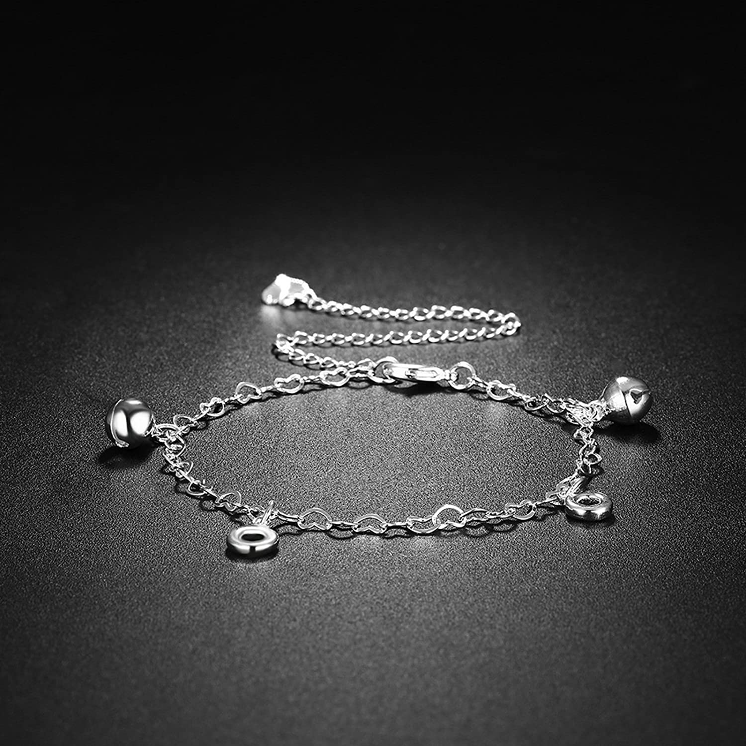 Bishilin Anklet Chain Jewelry Heart Bells Round anklet infinity 20 CM