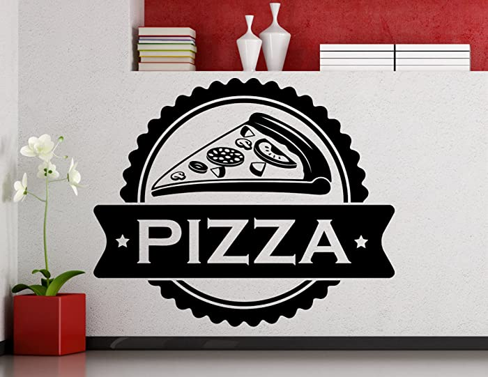 Pizza Wall Decal Fast Food Pizzeria Logo Vinyl Sticker Home Room Kitchen Interior Art Decoration Any Room Mural Waterproof Vinyl Sticker (441xx)