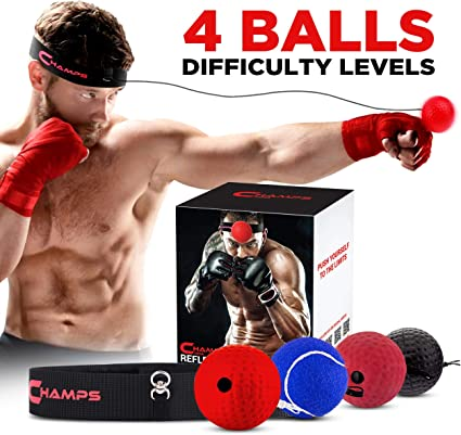 Fight Balls Reflex Boxing REACT Training Boxer Speed Punch Head Cap String L1F