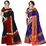 Art Decor Sarees Cotton Saree with Blouse Piece (Pack of 2)
