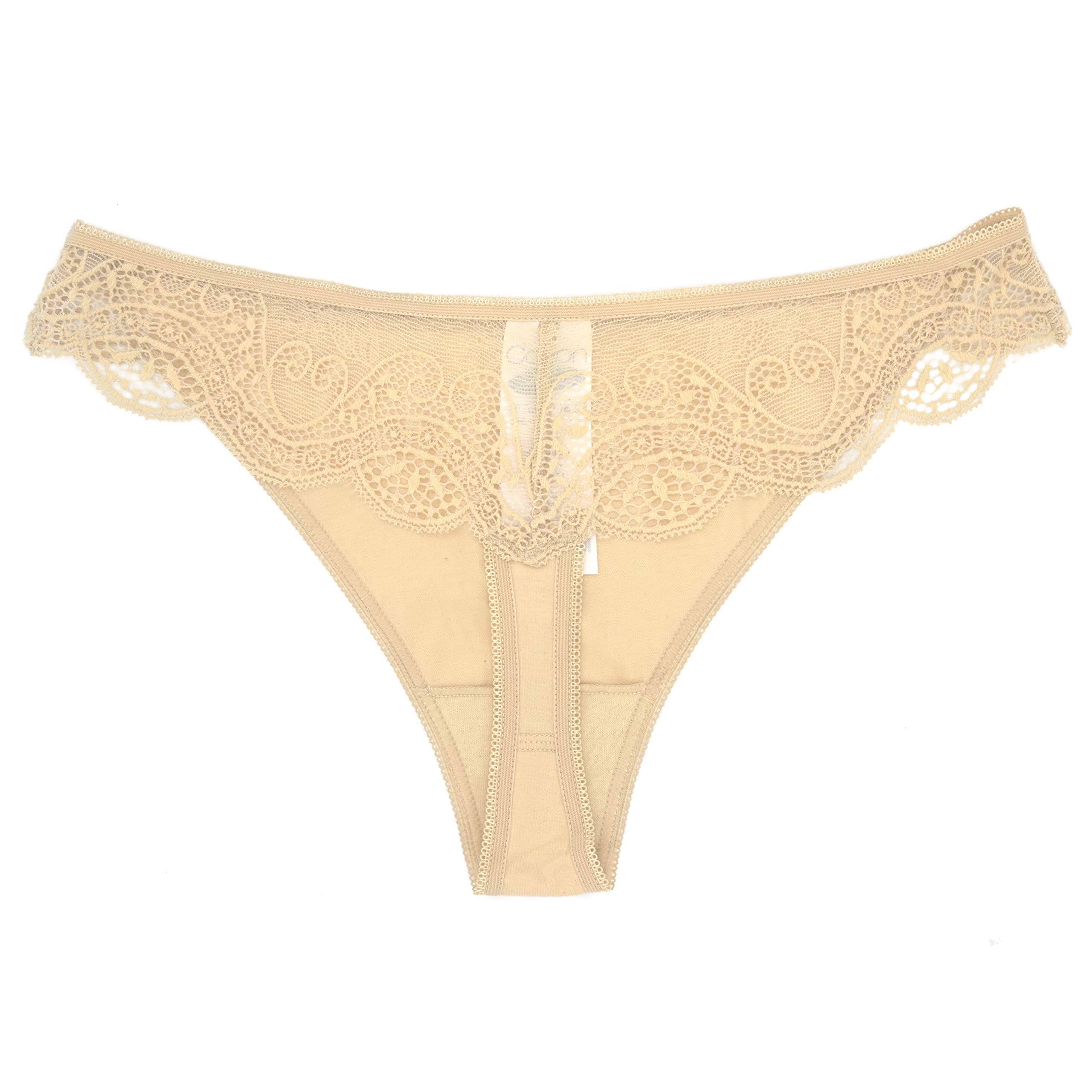 4127067b83a4 Galleon - 023 0301 Cotton See Through Panties Sexy Thongs Underwear Women  Panties Thong Pack, USA5/EUR M Beige 1 Pack