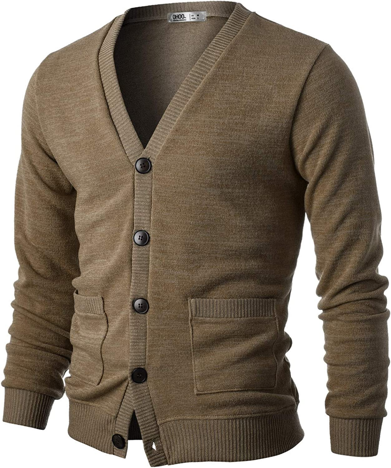 OHOO Mens Slim Fit Ribbed Knit Cardigan with Pockets