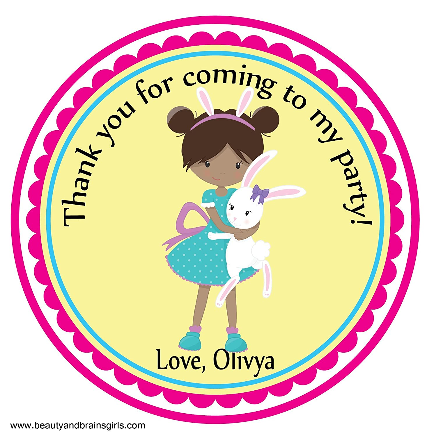Easter bunny darker tone party easter party custom personalized stickers birthday party favors treat tag toppers 24 stickers popular size 2 5 inches
