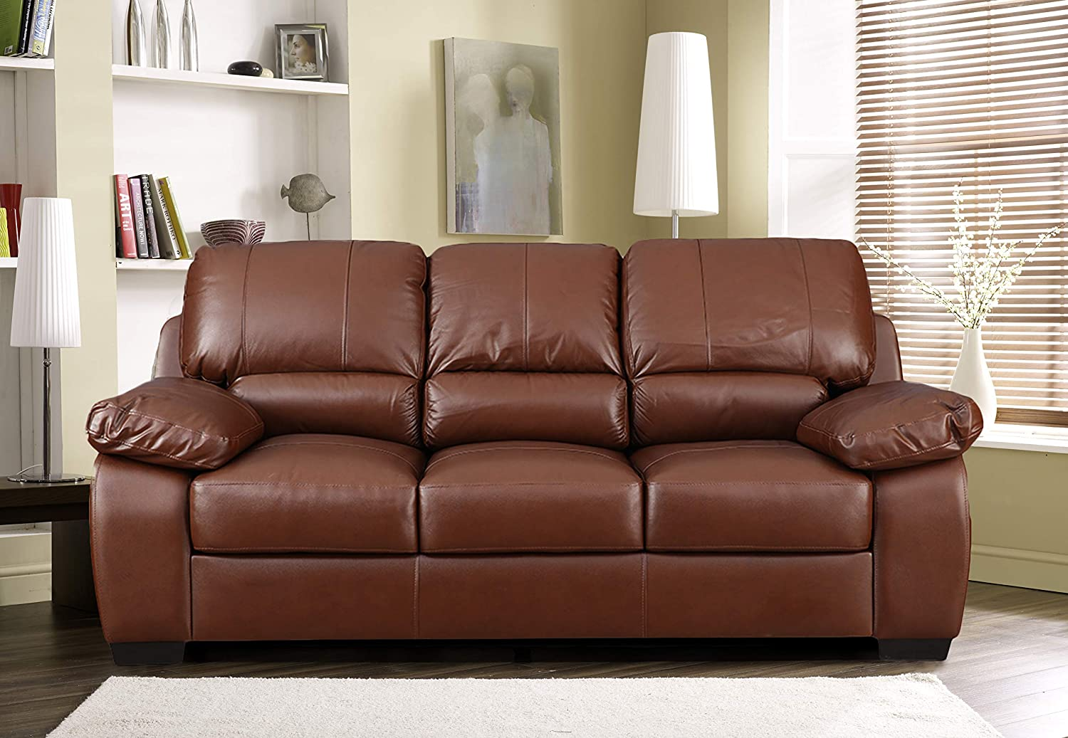 Hometown Barton Half Leather Three Seater Sofa Brown Amazon In