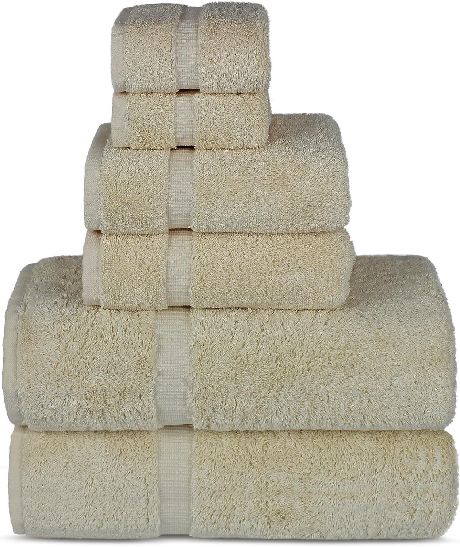Chakir Turkish Linens Luxury Spa and Hotel Quality Premium Turkish Cotton 6-Piece Towel Set (2 x Bath Towels, 2 x Hand Towels, 2 x Washcloths, Beige)