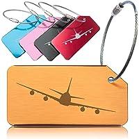 OCTiLUX Luggage Tags for Travel Suitcase Aluminium Aero Design