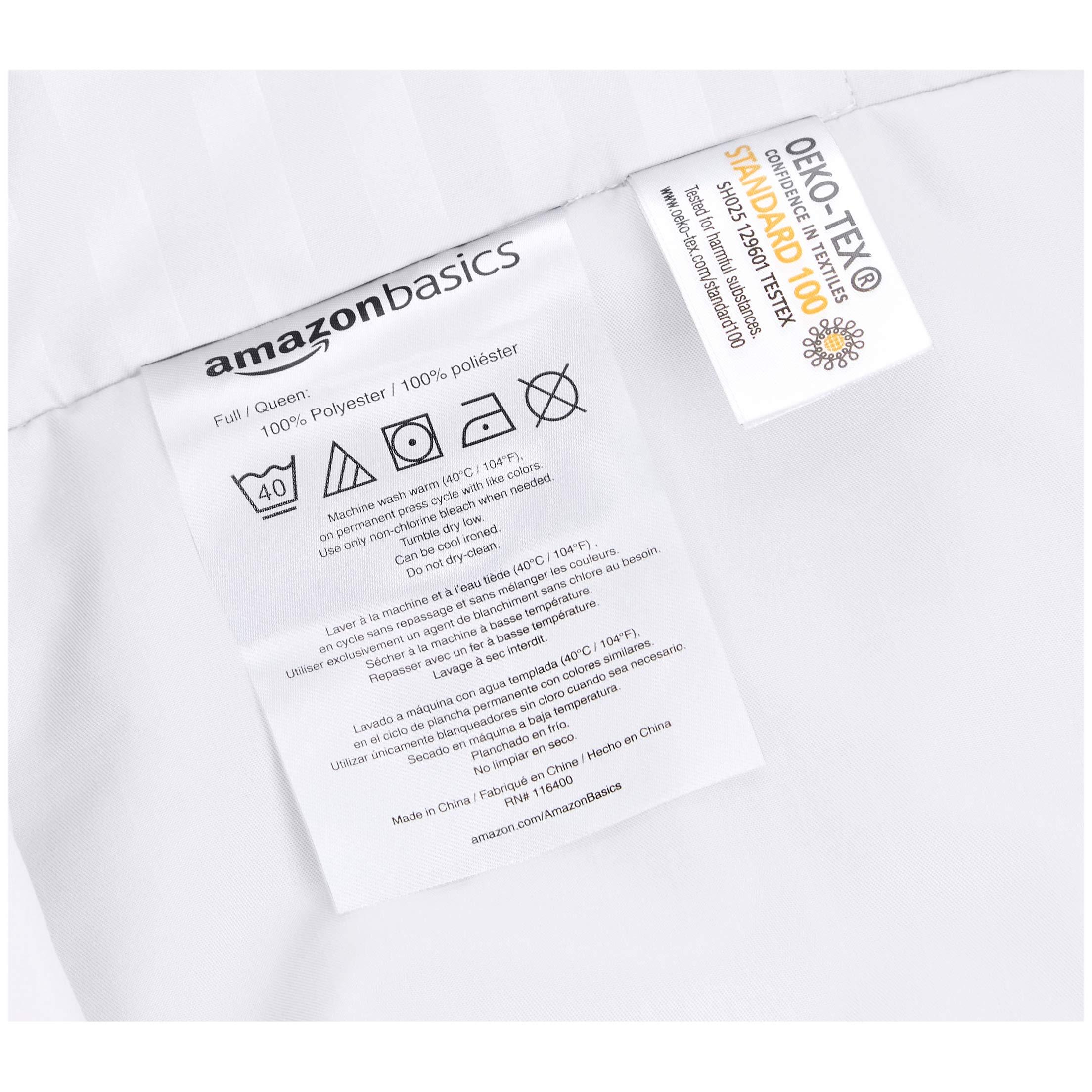 AmazonBasics Deluxe Striped Microfiber Duvet Cover Set - Full or Queen, Bright White by AmazonBasics (Image #6)