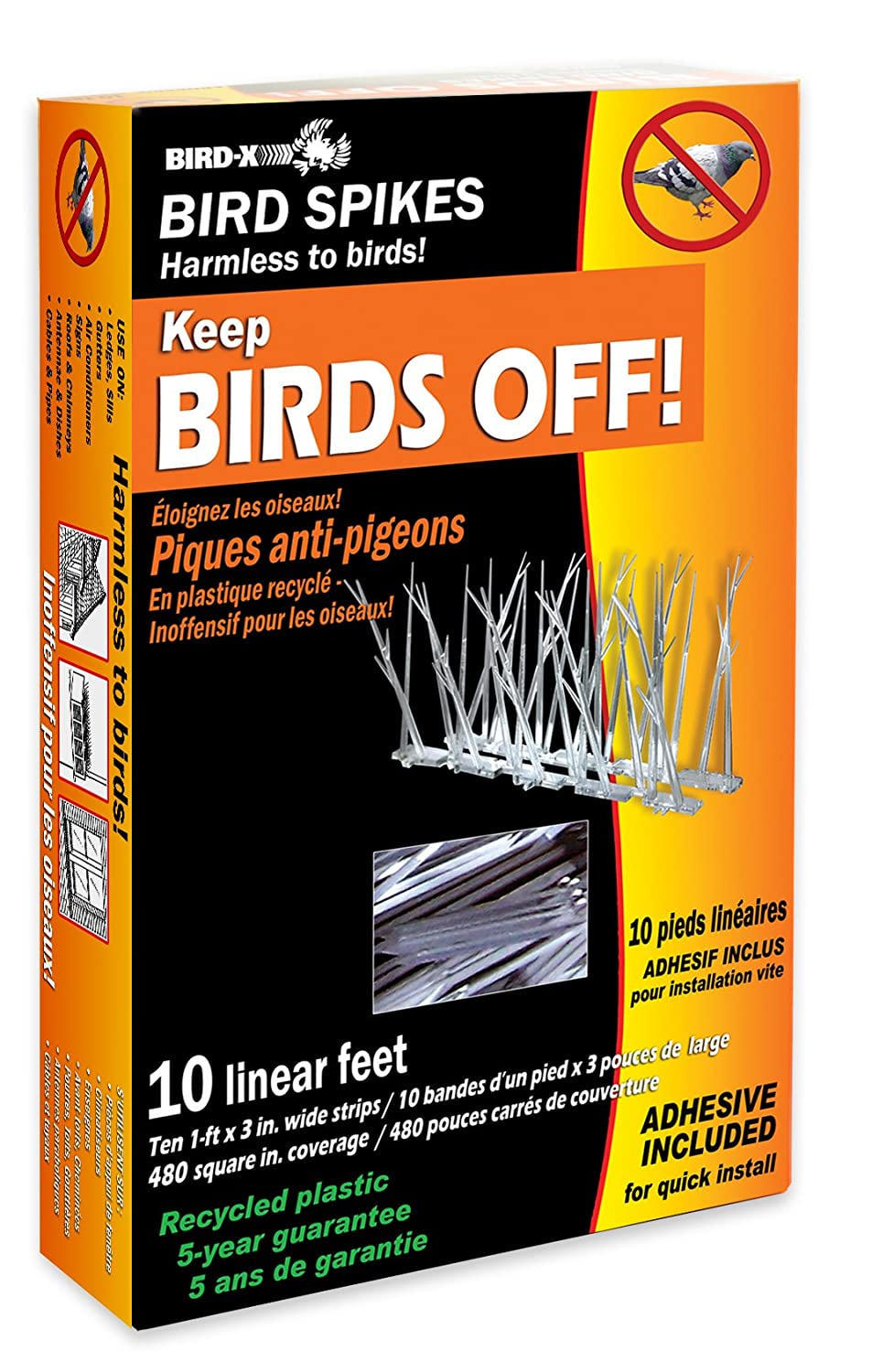 Amazon.com : Bird X Plastic Polycarbonate Bird Spikes Kit With Adhesive  Glue, Covers 10 Feet : Owl Scare Birds : Garden U0026 Outdoor