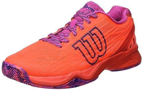 Wilson WRS323420E065, Zapatillas de Tenis para Mujer, Naranja Coral/Fiery Red/Rose Violet, 40 1/3 EU: Amazon.es: Zapatos y complementos