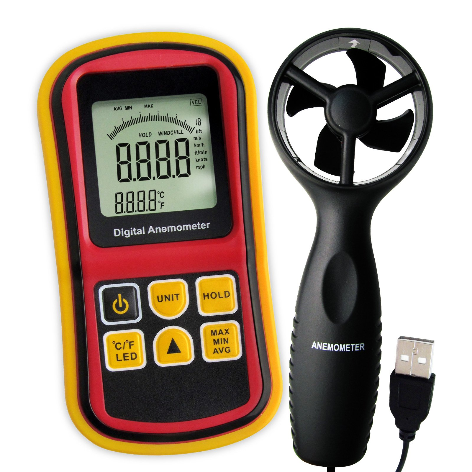 Gain Express 2-in-1 Digital Thermo-Anemometer, Air Flow Wind Speed Meter, 5 parameters (m/s, km/h, ft/min, knots & mph) with Thermometer Temperature, 0~45m/s Velocity Bar Graph Surf & Backlight