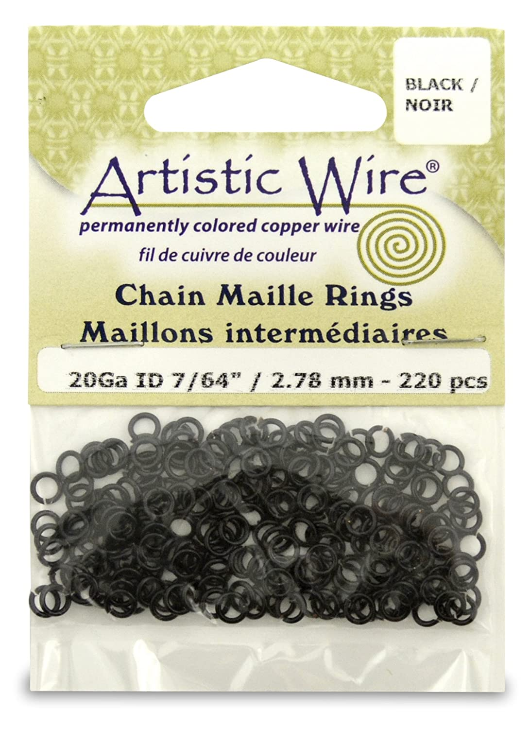 Artistic Wire Beadalon 7/64-inch 220 Piece 20-Gauge Chain Maille Rings, Black A314-20-02-03