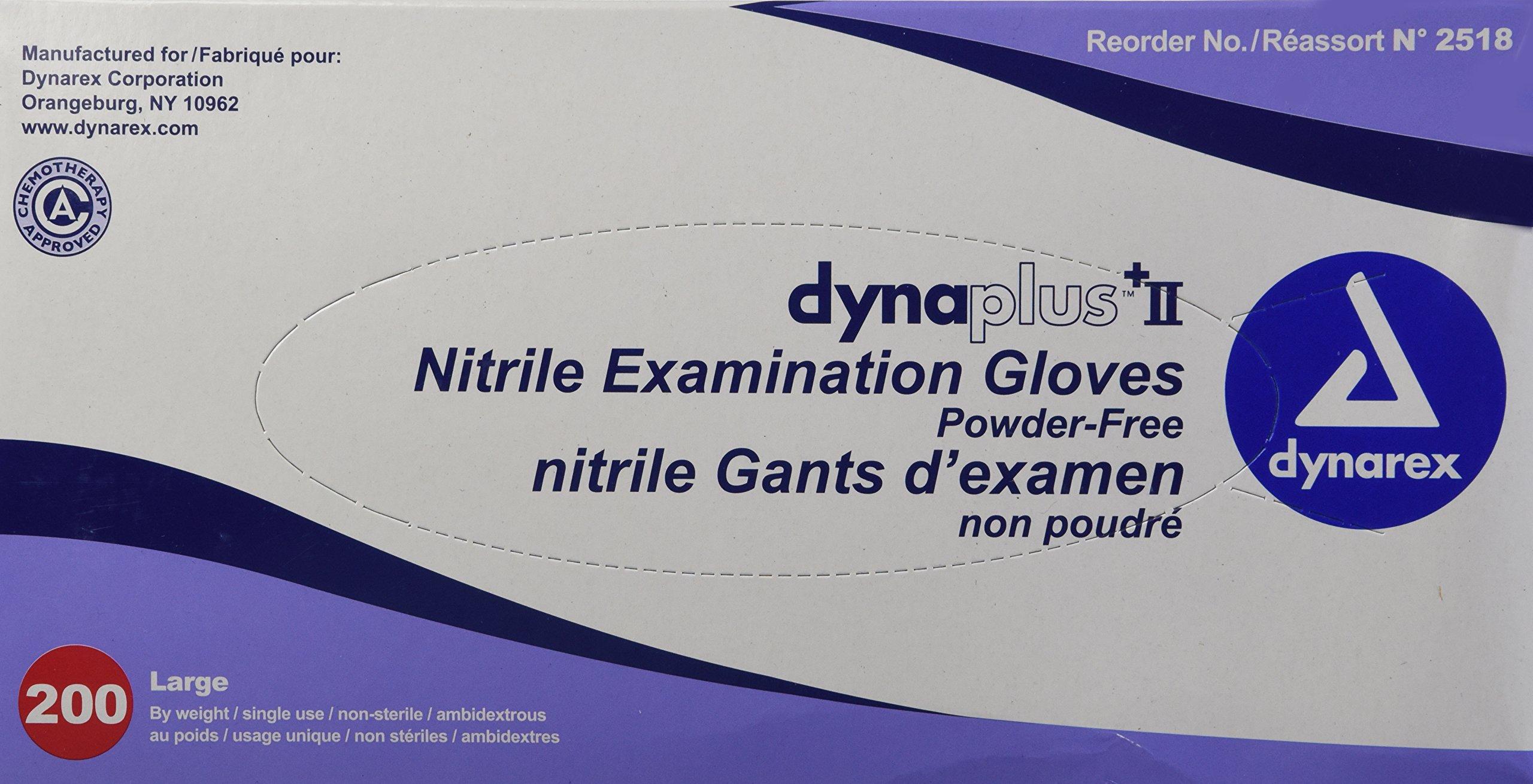 Dynarex Dynaplus Economy Nitrile Gloves, Large, 200 Count
