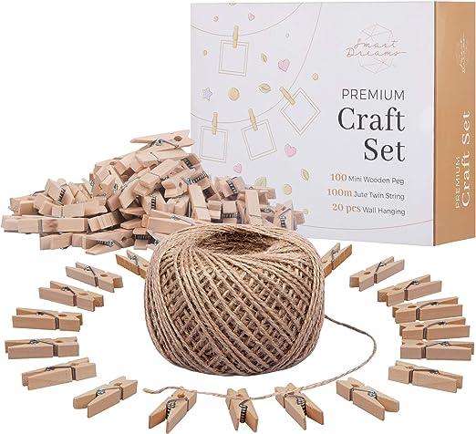 Smart Dreams cuerda de yute y mini pinzas de madera | Suministros ...