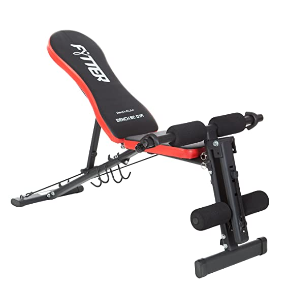 FYTTER BE-03R Redmium - Banco de musculación plegable, color negro/rojo: Amazon.es: Deportes y aire libre