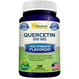 Quercetin 500mg Supplement - 200 Capsules - Quercetin Dihydrate to Support Cardiovascular Health - Max Strength Powder Comple
