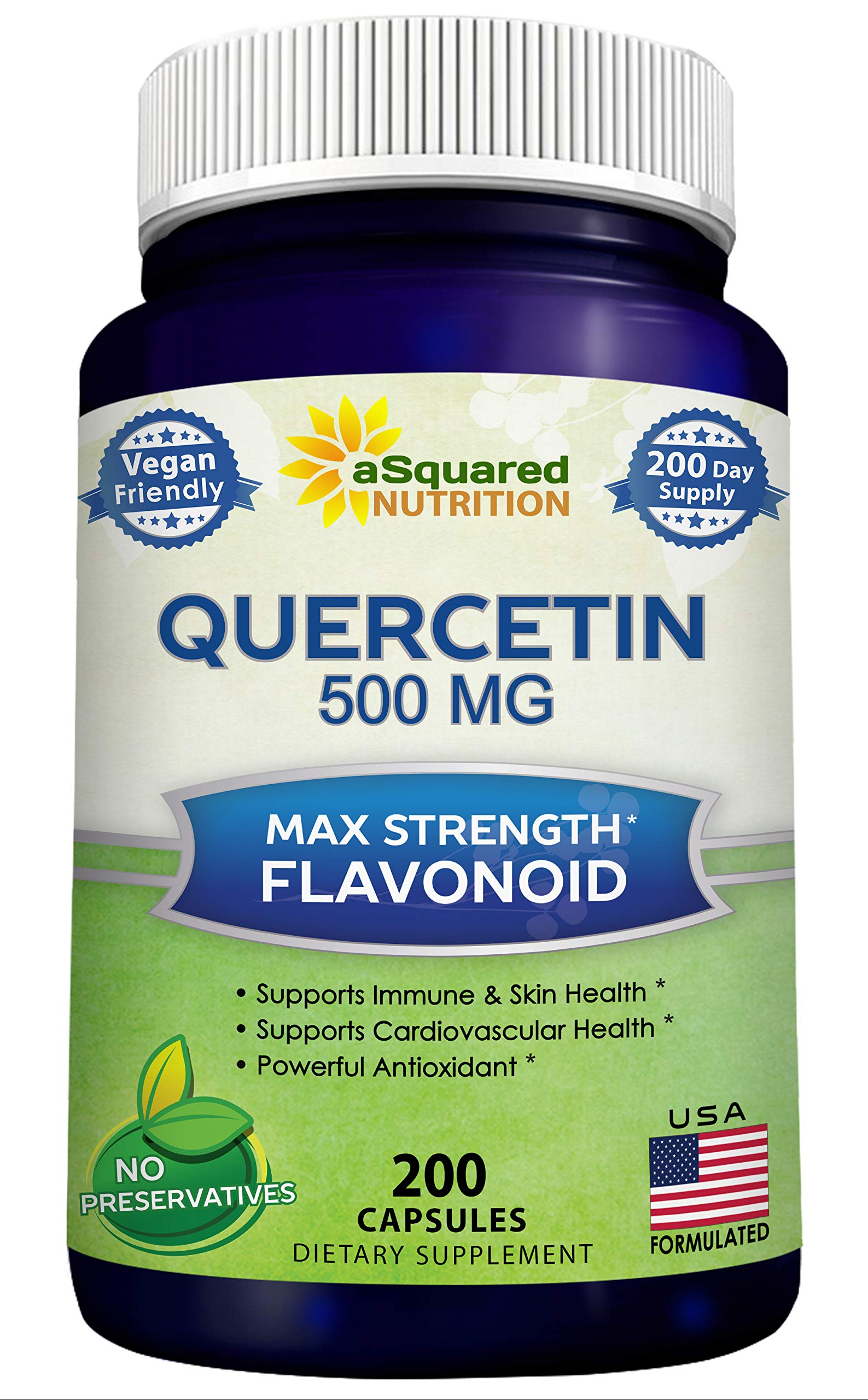 Pure Quercetin 500mg Supplement - 200 Capsules - Quercetin Dihydrate to Support Cardiovascular Health - Max Strength Powder Complex Pills to Help Improve Anti-Inflammatory & Immune Response by aSquared Nutrition