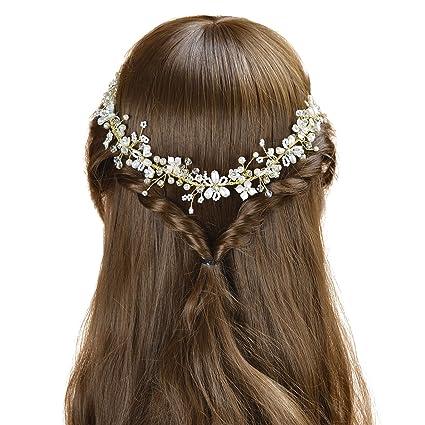 AWEI Novia Llamativa Tocados de Novia Dorados Perla Floral Cintas para el Pelo  Novia 1c559e16cc22