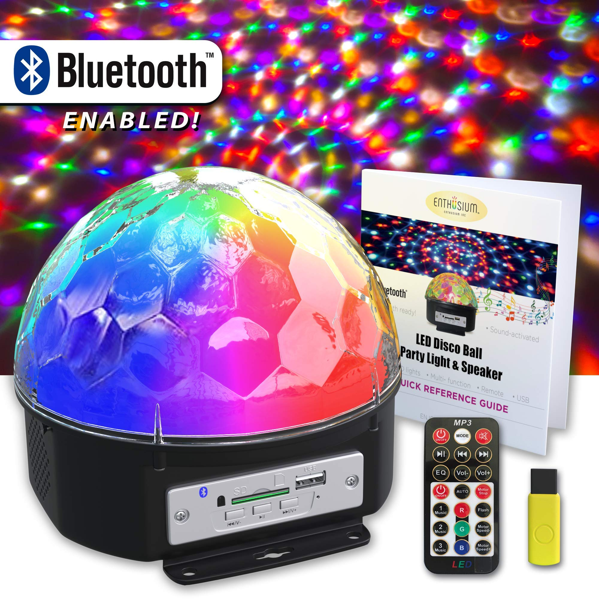 Enthusium Disco Party Light Bluetooth Speaker 9 Color LED Rotating Sound Activated Strobe with Remote & Quick Reference Guide Magical Lighting for Weddings Parties Bedroom by Enthusium Inc