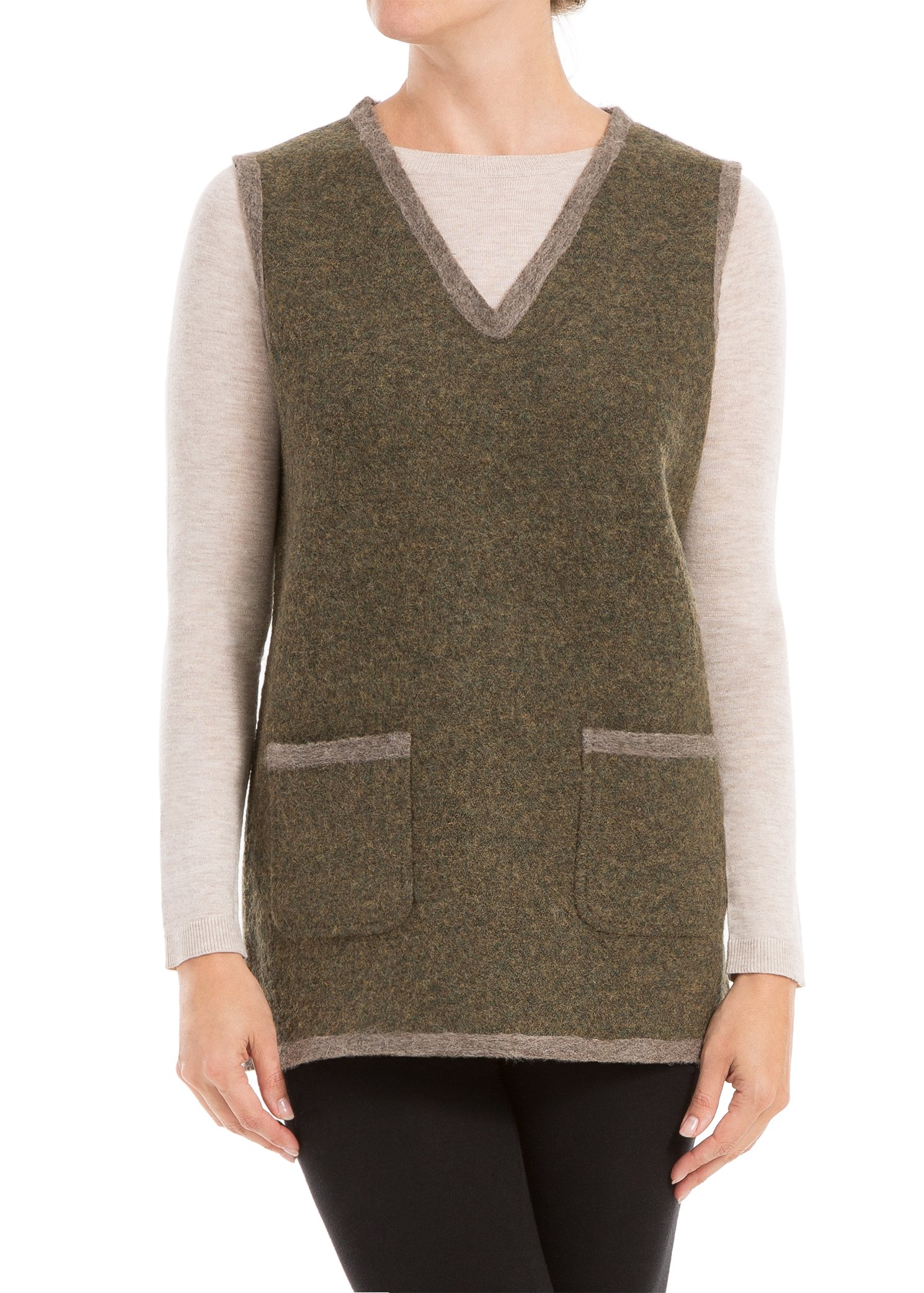 Max Studio by Leon Max Heathered Wool Needlepunched Vest - 6207Y45-DGRNHOAT-L