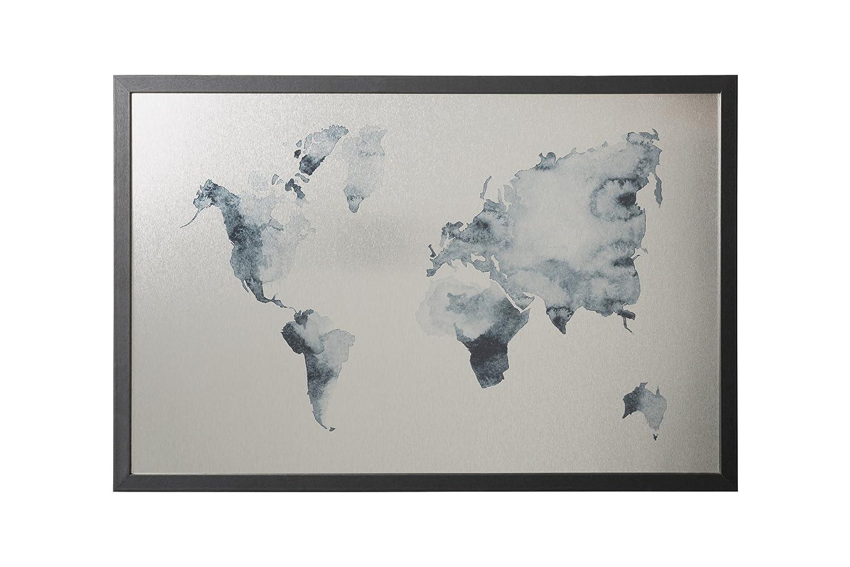 Finitura Argento Magnetica Cancellabile a Secco 90x60cm Bi-Office Cornice Nera MDF Lavagna Ink Mappa del Mondo
