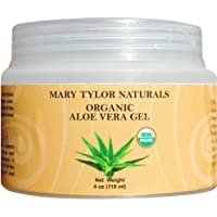 Mary Tylor Naturals Organic Aloe Vera Gel (4 Oz), Usda Certified By, Premium Grade, Natural And Cold Pressed - For Face, Skin, Hair, Sun Burns, Damaged Skin And Acne