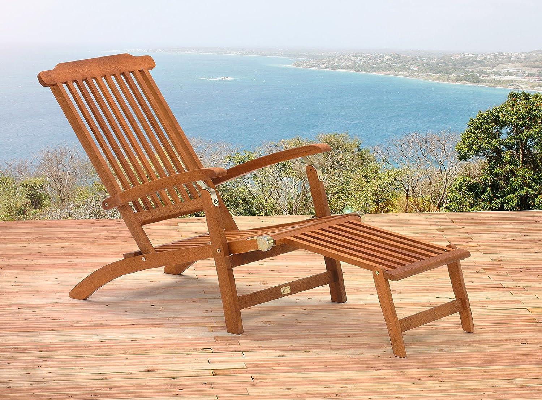 2 x Lagos Deckchair aus Holz Eukalyptusholz 100% FSC-zertifiziert Liegestuhl