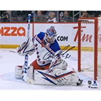 "$139 » Igor Shesterkin New York Rangers Autographed 8"" x 10"" White Jersey Glove Save Photograph - Autographed NHL Gloves"