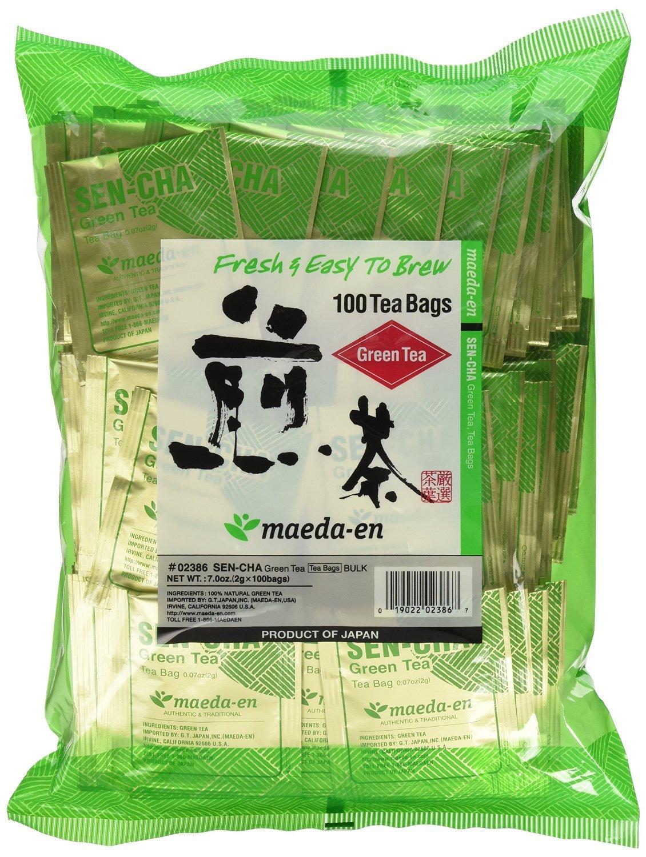 Authentic Maeda-en Japanese Sencha Green Tea - 100 Foil-Wrapped Tea Bags (Pack of 2) by MAEDA-EN