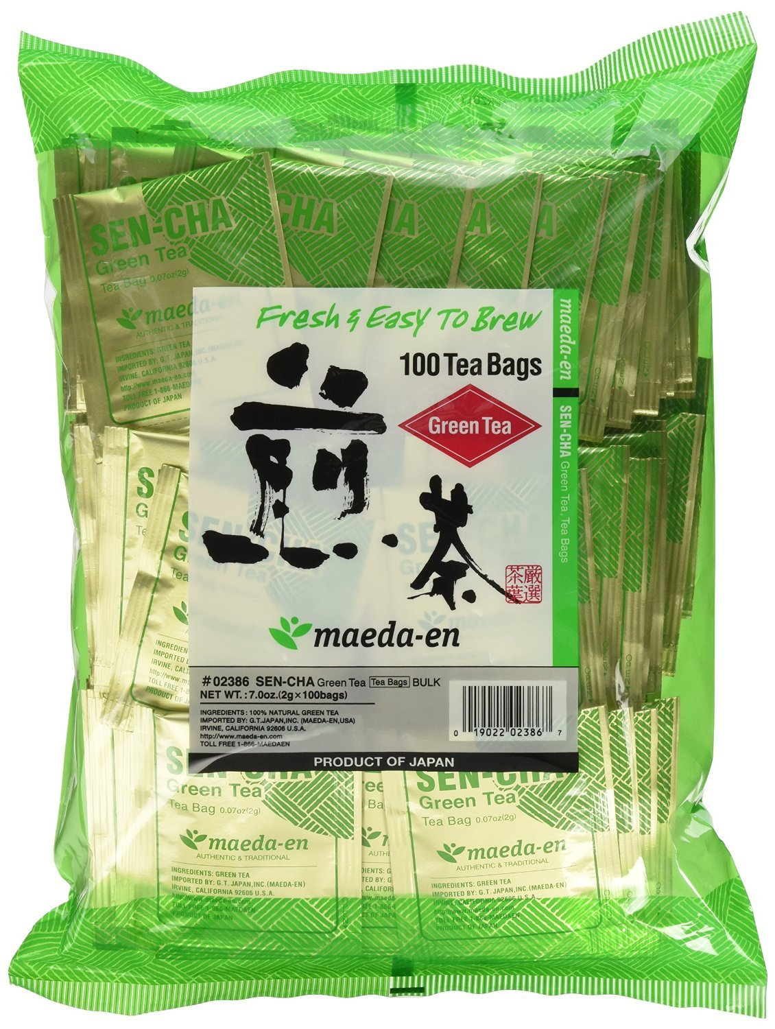 Authentic Maeda-en Japanese Sencha Green Tea - 100 Foil-Wrapped Tea Bags (Pack of 2)
