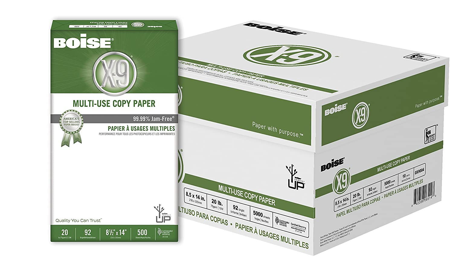 amazon com boise x 9 multi use copy paper 8 5 x 14 92 bright