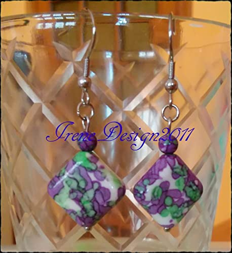 Motley Sea Jasper Stainless Steel Earrings by IreneDesign2011
