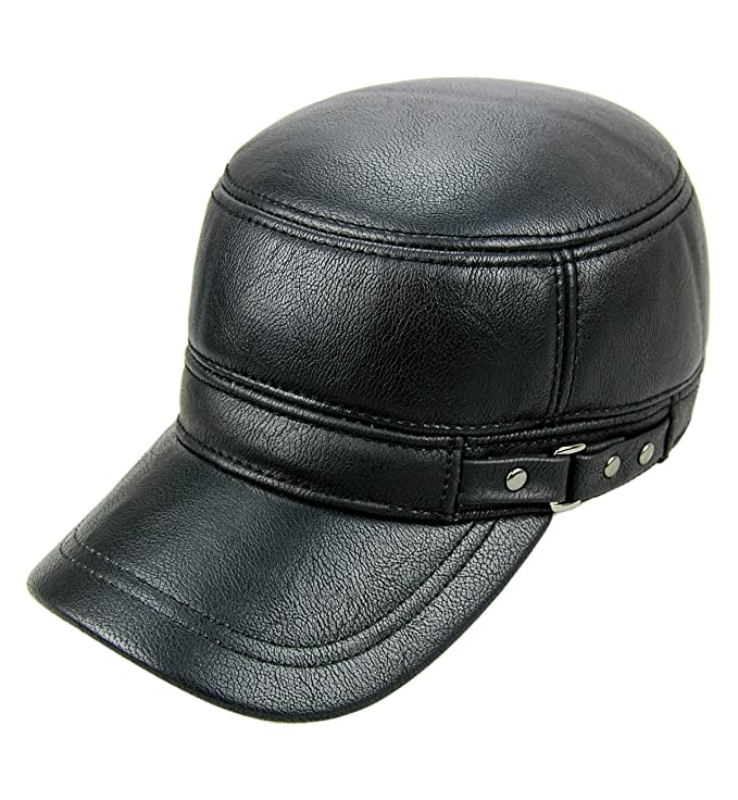 Sumolux Men Leather Cap with Earflap Military Cadet Army style Hats Flat  Top Hat Adjustable for Outdoor Winter at Amazon Men s Clothing store  42ce29f512e6