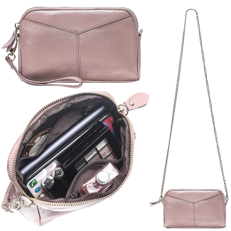 Women's Smartphone Soft Leather Wristlet Purse/Clutch Wallet/Crossbody Bag with Crossbody Strap&Wrist Strap (Baby Pink)