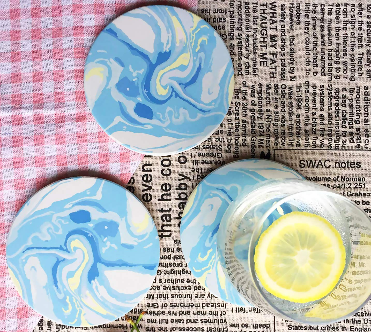 Absorbent Stone Coasters - 6PacksTabletop Drink Spill Coaster Set, Starry Sky Blue Style
