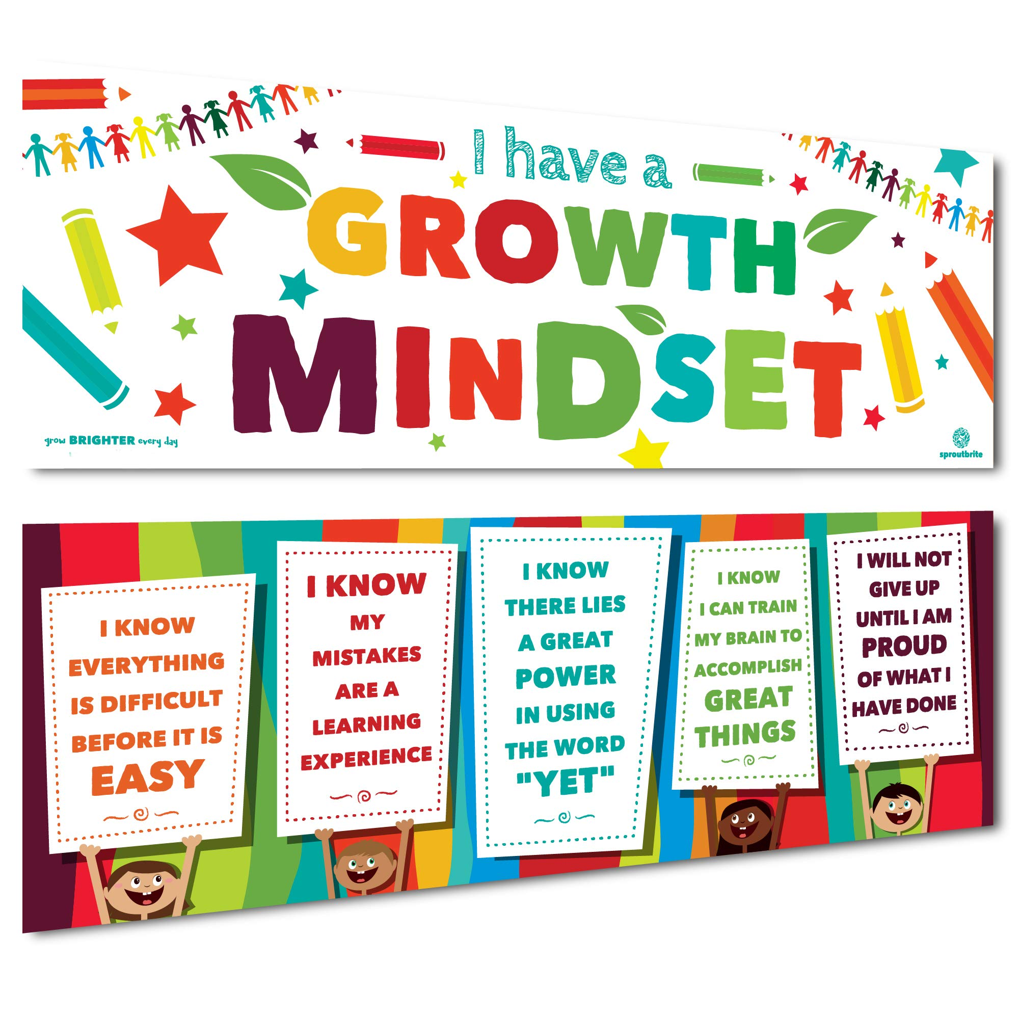 Sproutbrite Classroom Banner Decorations for Educational & Motivational Growth Mindset for Students - 2 Banners - 13''x39'' Each