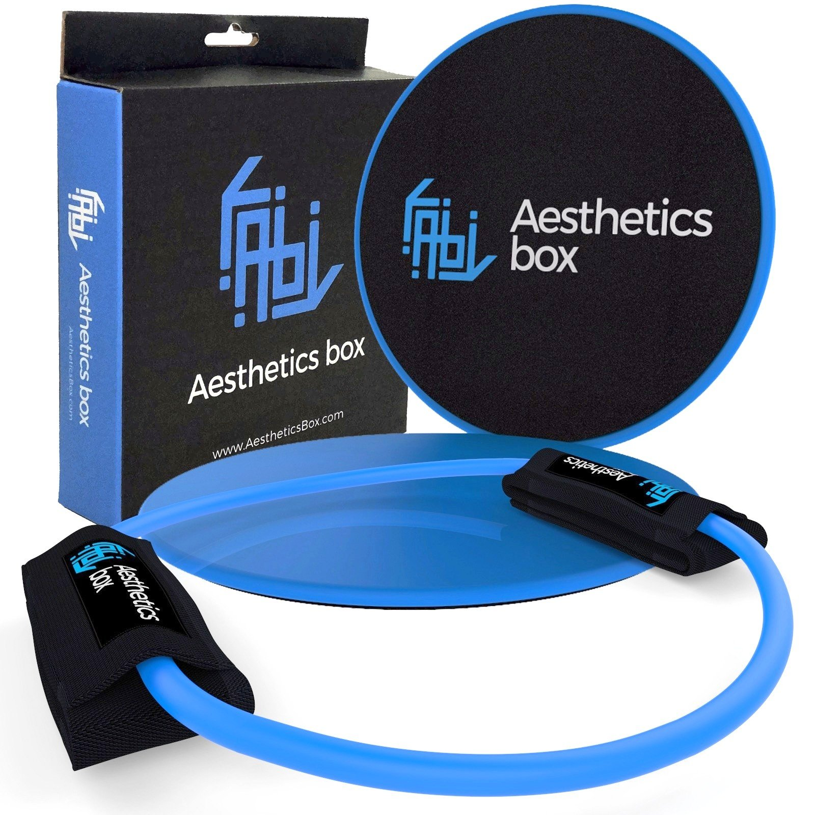 Aesthetics Box | Gliding Discs Exercise Sliders Fitness Core + Bonus Resistance Tubes & Ideal Workout Ankle Straps Set + E-Book | Perfect Kit for Gym - Travel - Home Training | Full Body Strength |