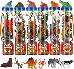 Liberty Imports Mini Animal Figure Toys in Tubes 78 Piece Set | Includes Farm Zoo Safari Dinosaur Insect Reptile Ocean Creatures | Realistic Plastic Vinyl Assorted Figurines (6 Containers)