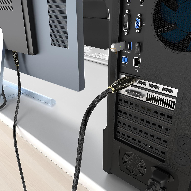 Versi/ón 1.2, resoluci/ón de hasta 4K 60Hz, HDCP, con tapones dorados, conector con bloqueo y revestimiento de nailon, para aplicaciones multimedia y de juegos KabelDirekt 1m Cable DisplayPort