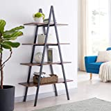 Glitzhome 4-Tier Wood Ladder Bookcase Modern A Frame Ladder Display Shelf A Shape Industrial Display Shelf Ladder Storage Rac