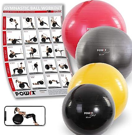 POWRX Deluxe - Pelota de gimnasia, yoga, pilates: Amazon.es ...