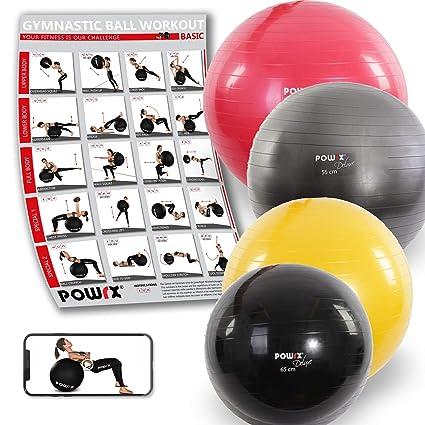 POWRX Deluxe - Pelota de gimnasia, yoga, pilates