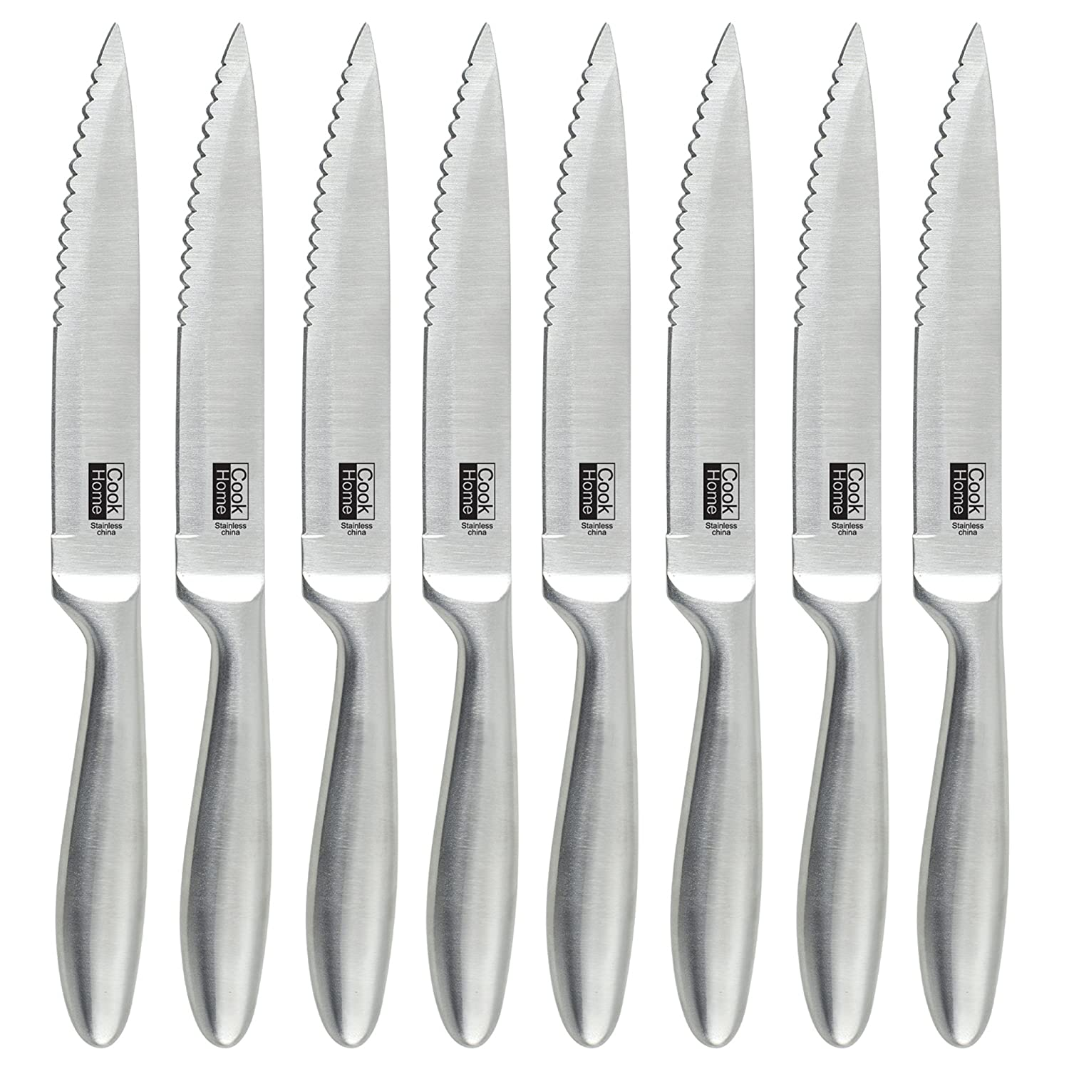 Cook N Home NC-00372 10-Inch, One Const 8-Piece Stainless Steel Serrated Steak Knife Set, Silver