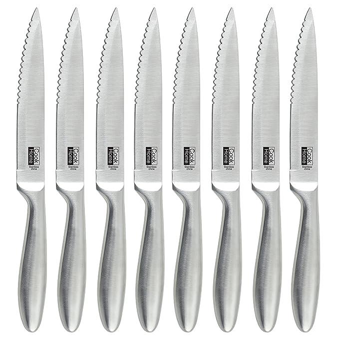 Amazon.com: Cook N Home 8-Piece de acero inoxidable cuchillo ...