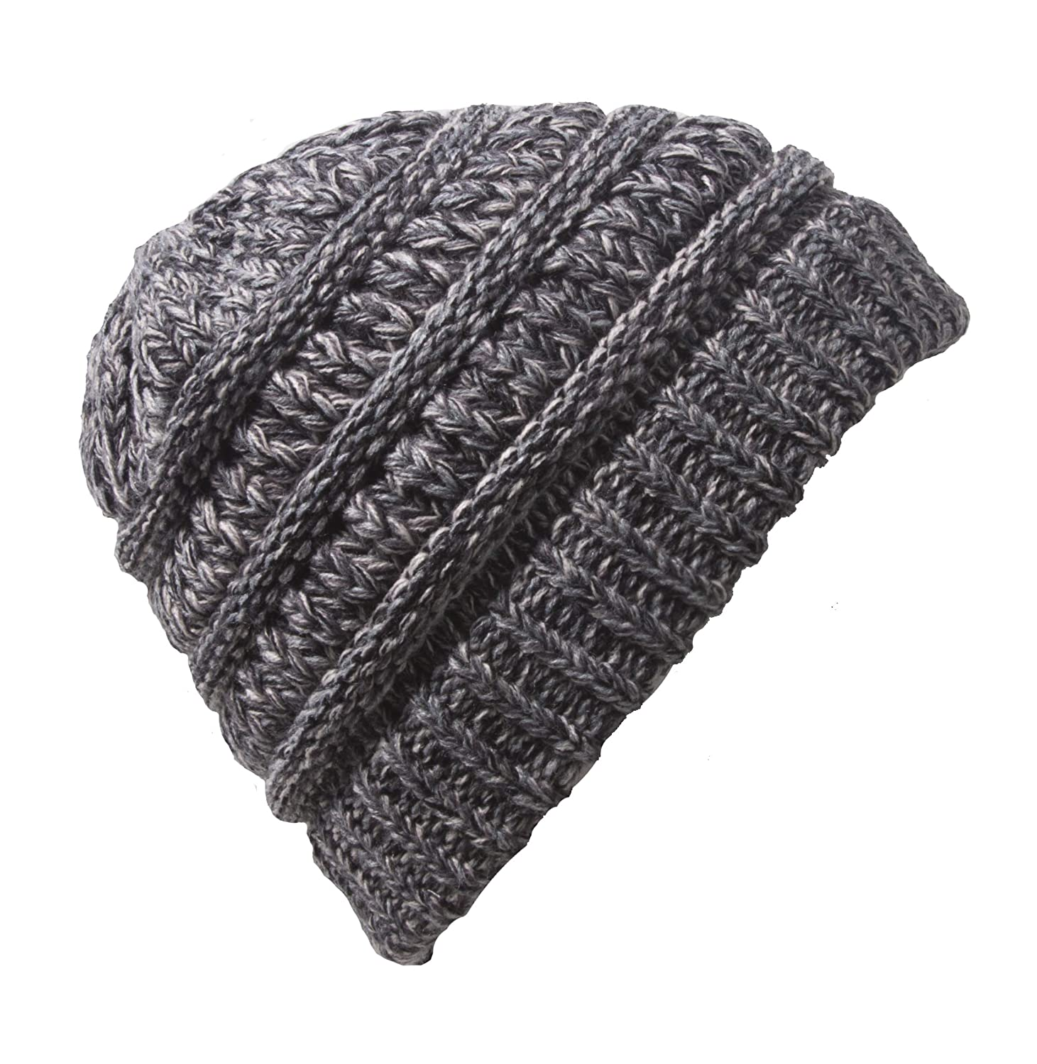 Gravity Threads Kids Soft Cable Knit High Ponytail Winter Beanie