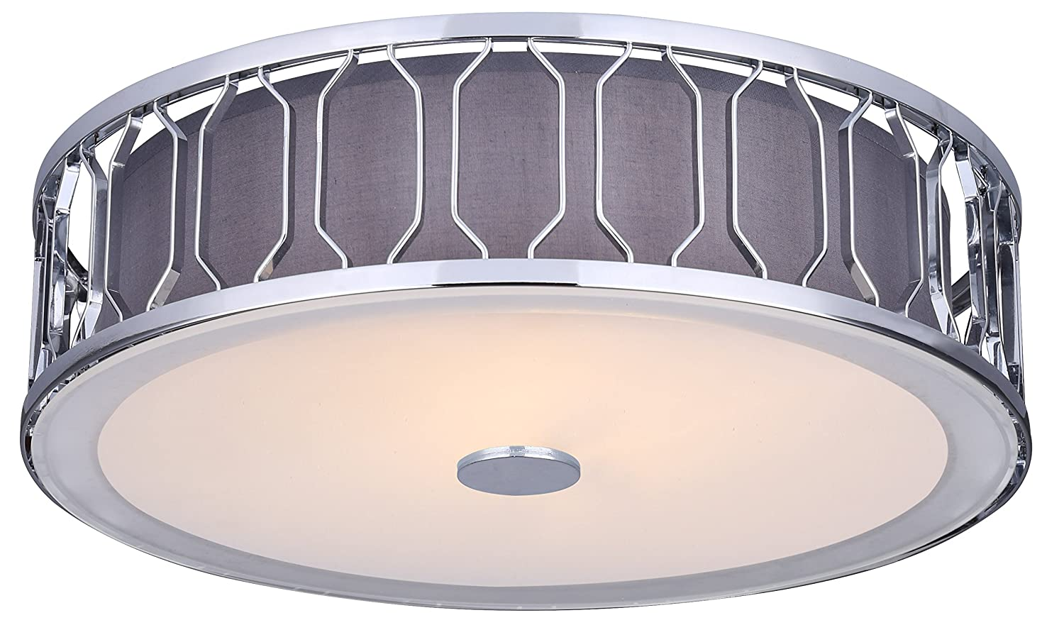 Canarmフラッシュマウント。。。。。。 Flush Mount with Grey Fabric Shade IFM573A15CH 1 B01A93TDLO Flush Mount with Grey Fabric Shade|クロム クロム Flush Mount with Grey Fabric Shade