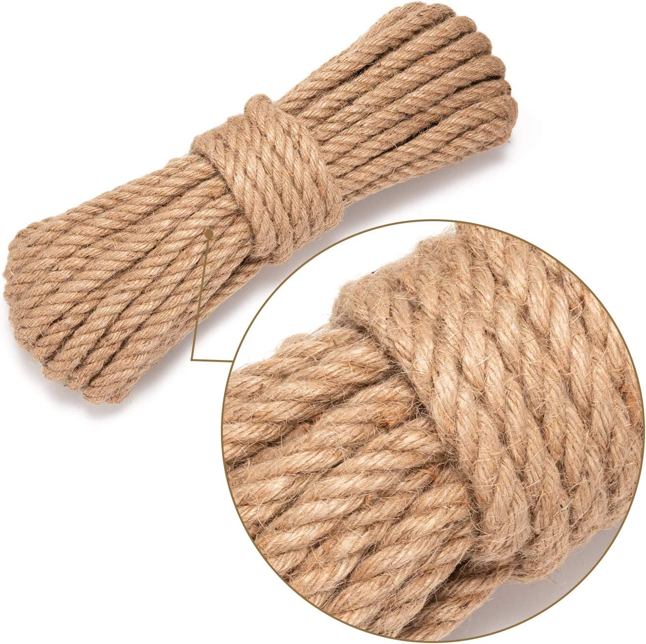 Axieso Jute Rope 50 Feet 1/2 Inch - Heavy Duty Twine Rope for Crafts - Decorative Thick Natural Craft Hemp Rope - Garden Jute String for Indoor and Outdoor Projects - Nautical Style Burlap Cord (13mm)