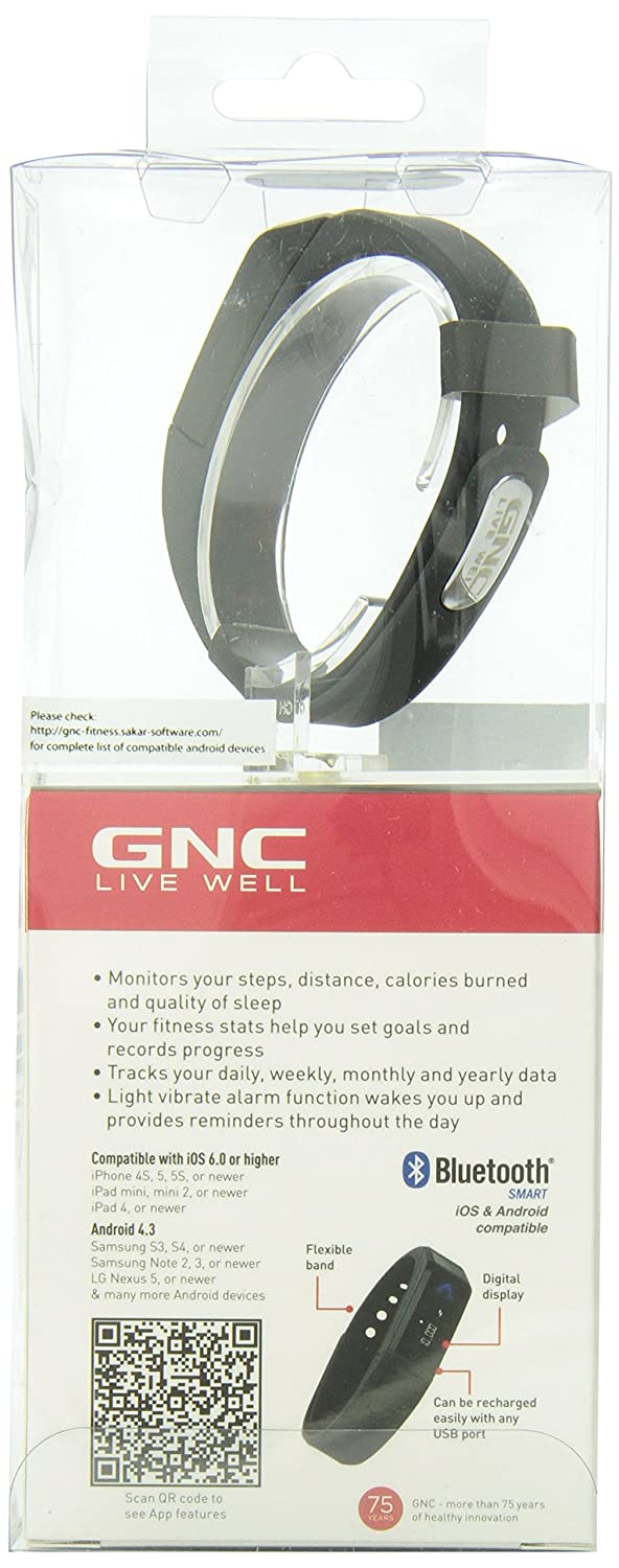 Amazon.com : GNC Wireless Bluetooth Activity Band Pro Track Ultra Pedometer Black : Sports & Outdoors